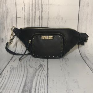 VS Black Faux Leather Fanny Pack Crossbody Studded